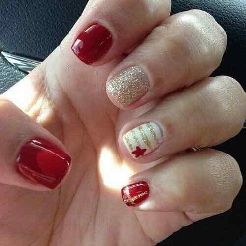 unas pintadas rojo y dorado (3)