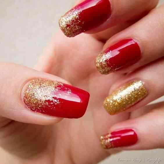unas pintadas rojo y dorado (4)