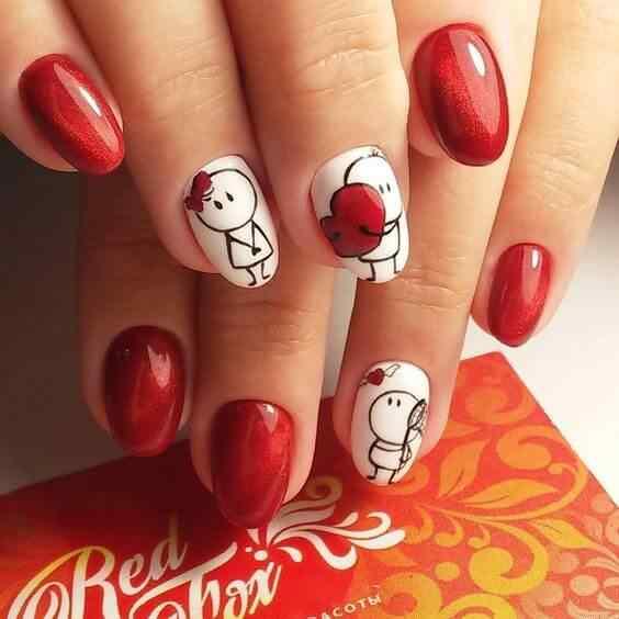 uñas rojas para jovencitas