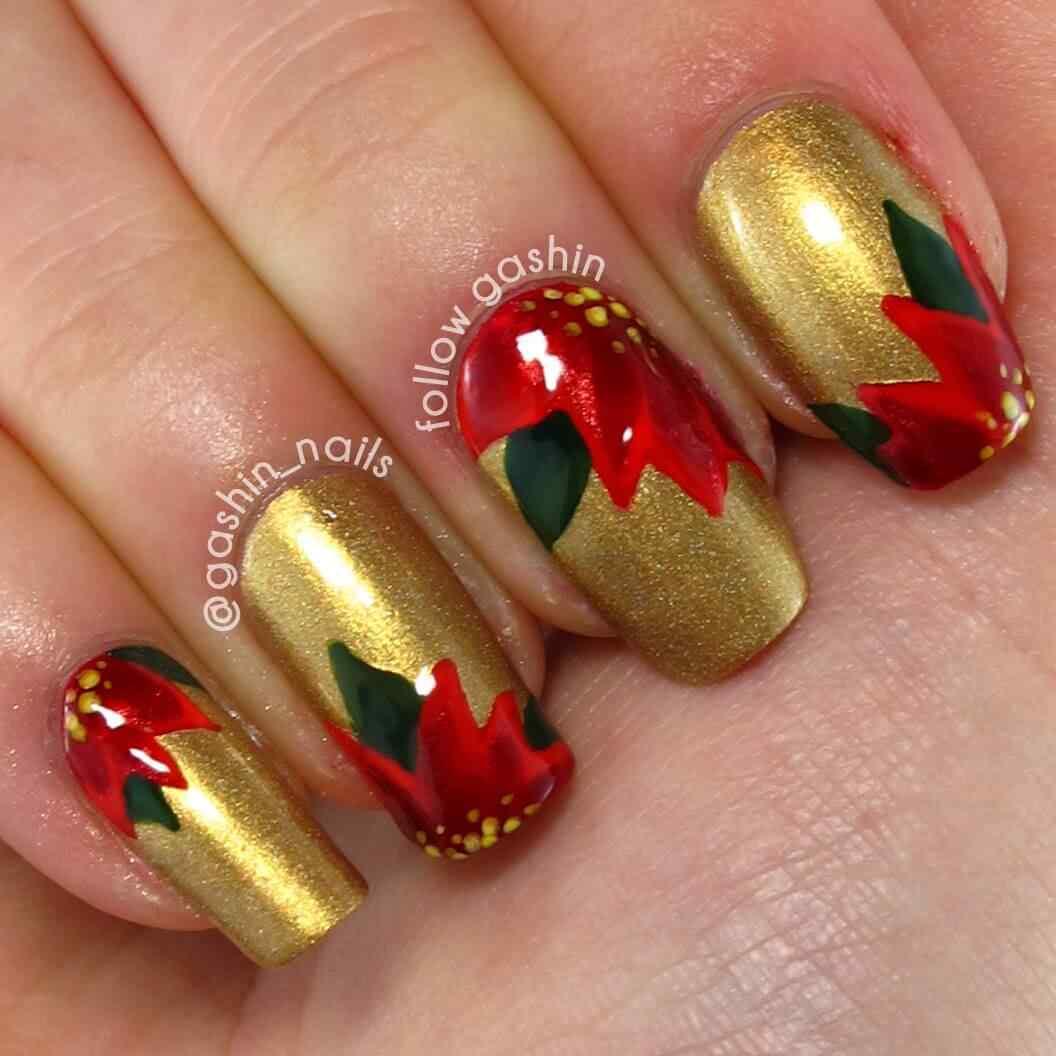 unas rojo con dorado (6)