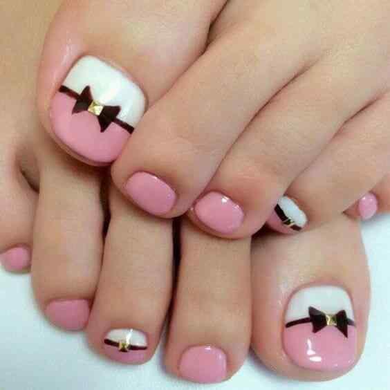 uñas rosa para el pie