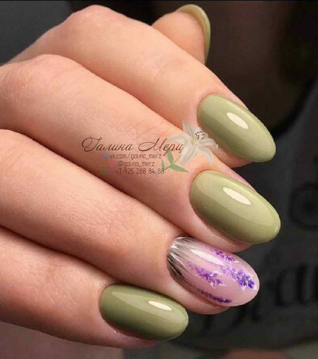 uñas verde oliva