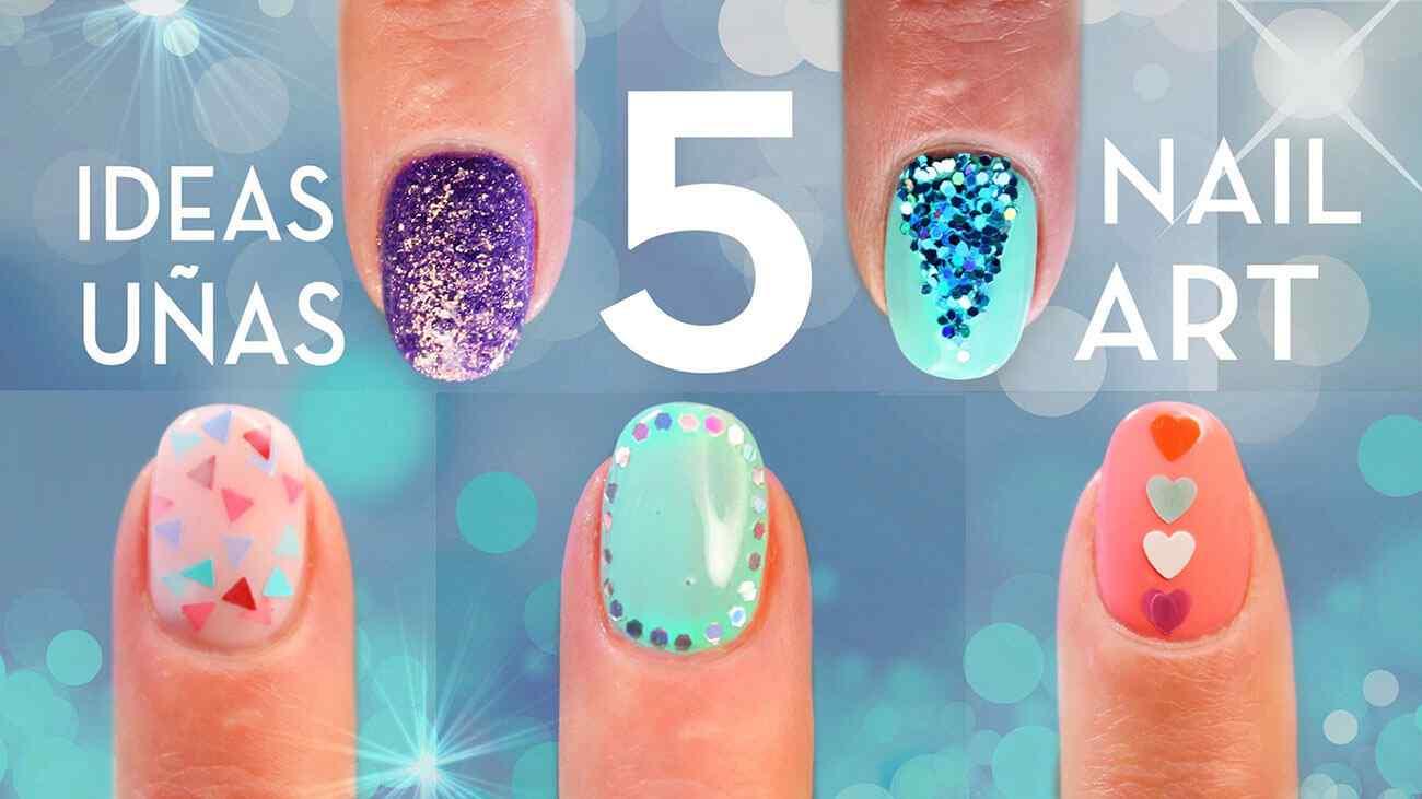 Diseños de uñas con brillo o glitter