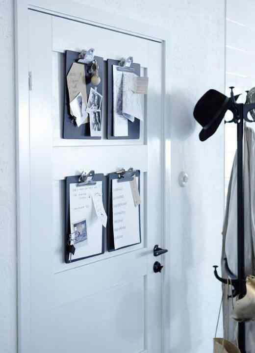puerta decorada con Clipboards
