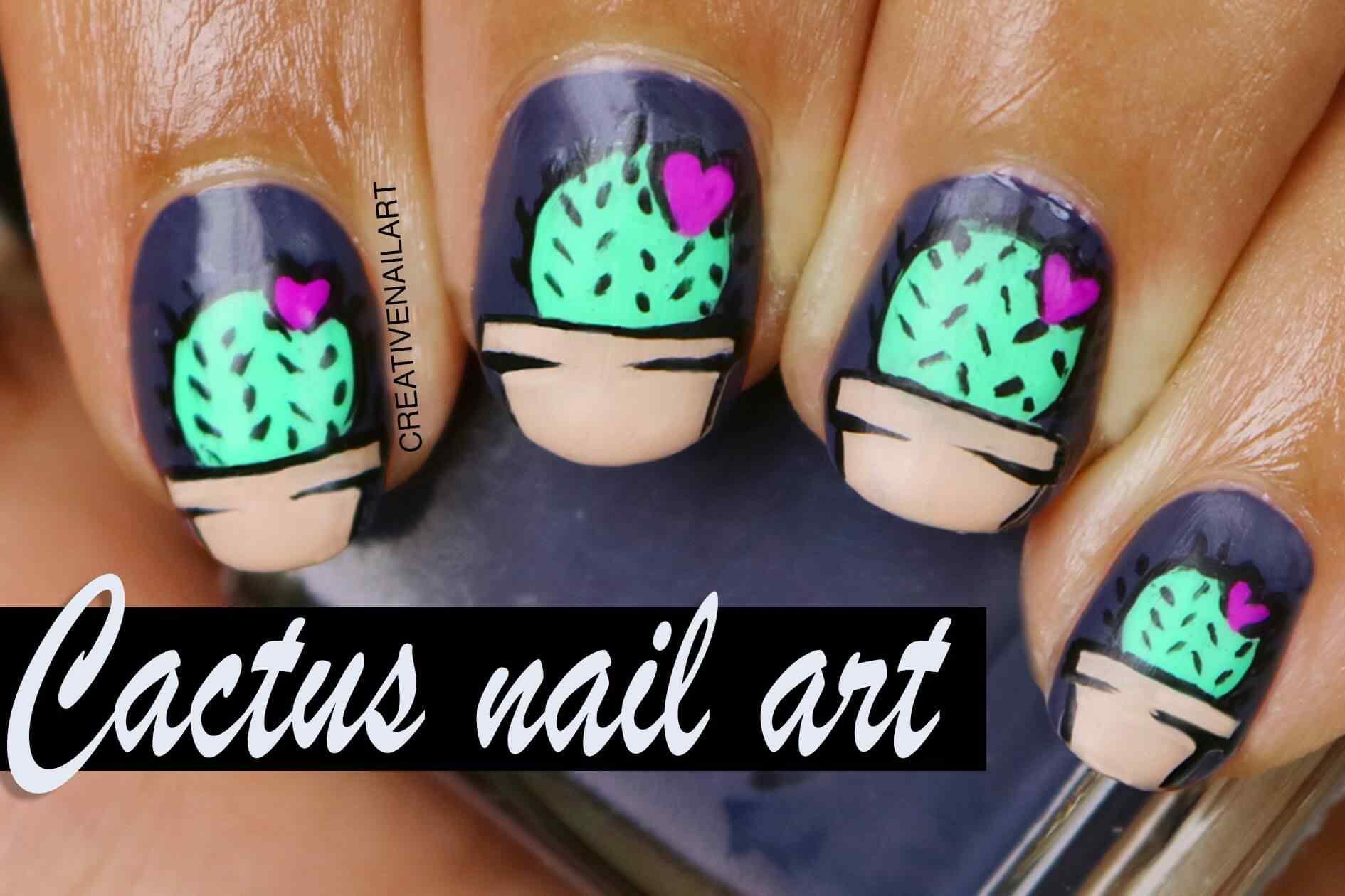 Uñas decoradas con diseño de cactus
