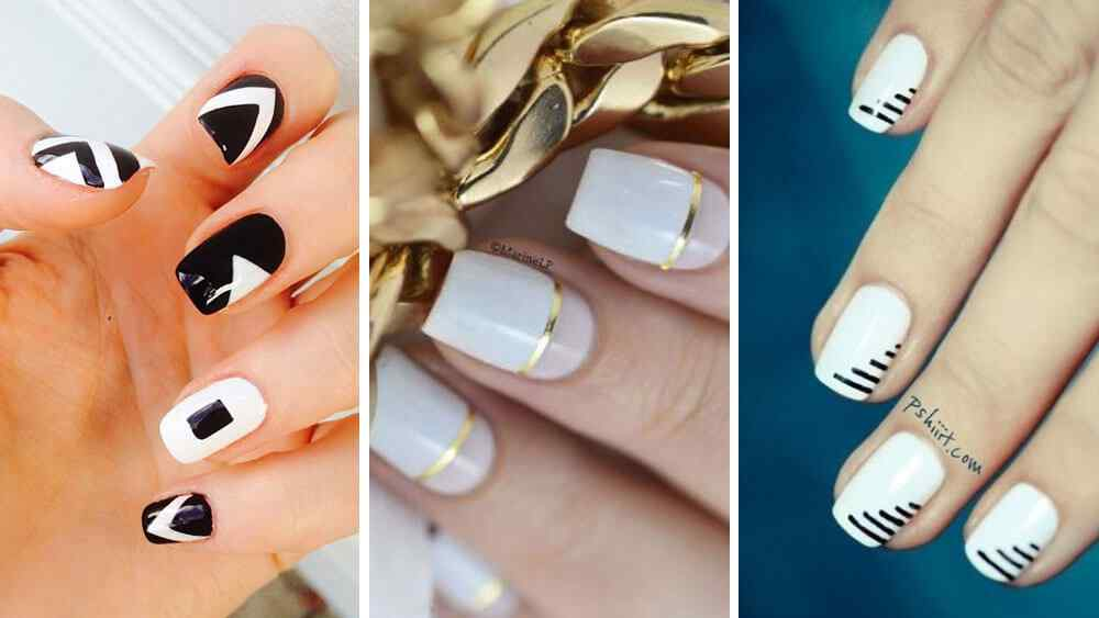 Uñas decoradas con base en color blanco