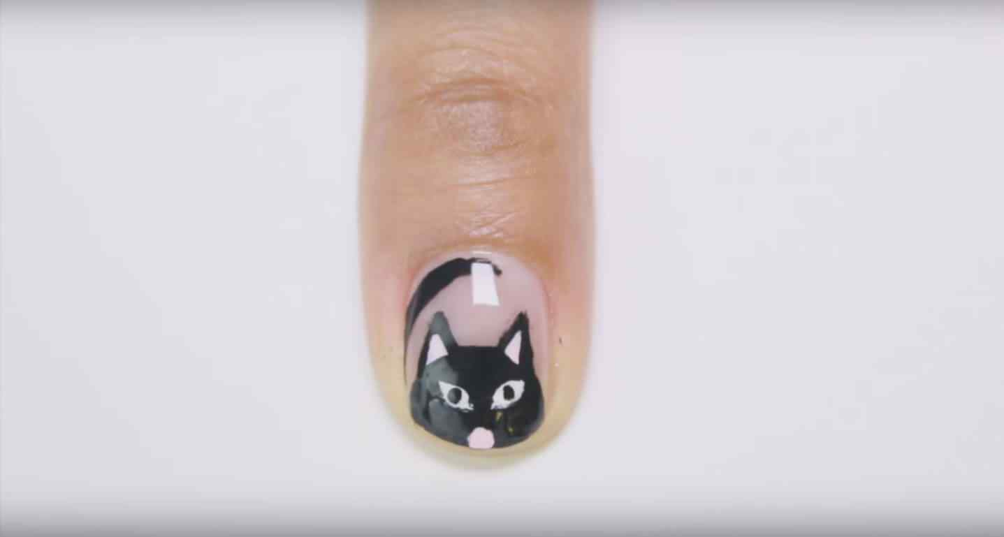 Uñas decoradas gato negro halloween