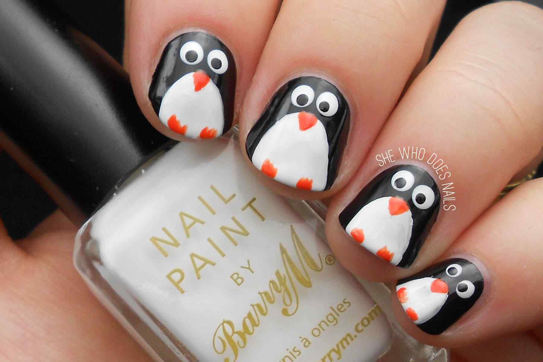 diseño facil para uñas pinguino