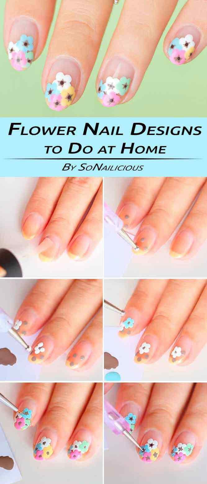 tutorial diseño de uñas con flores