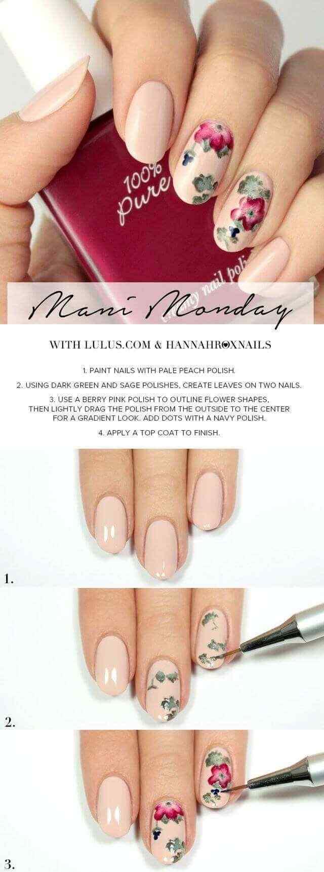 tutorial diseño de uñas florales
