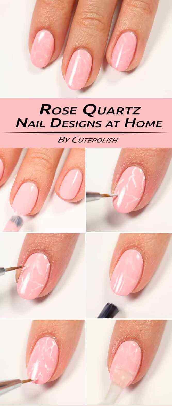 tutorial diseño de uñas rosas marmoladas