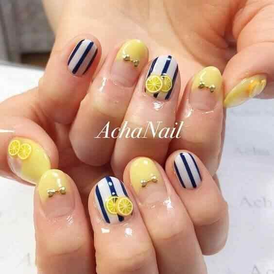 uñas con diseño limon
