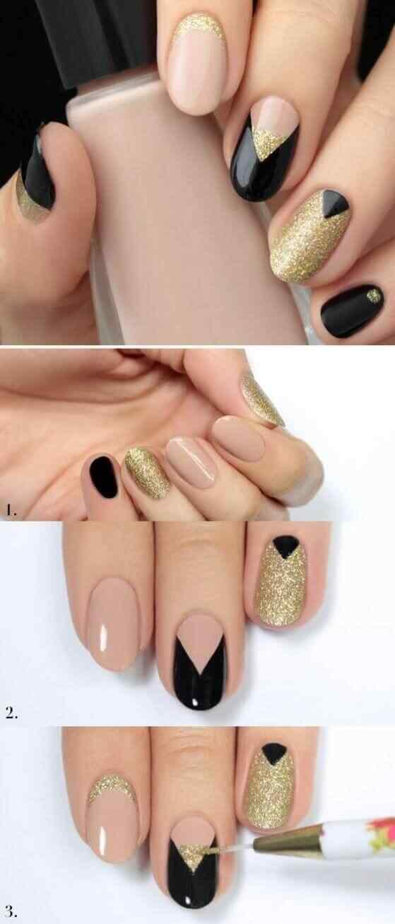 uñas decoradas faciles dorado y negro