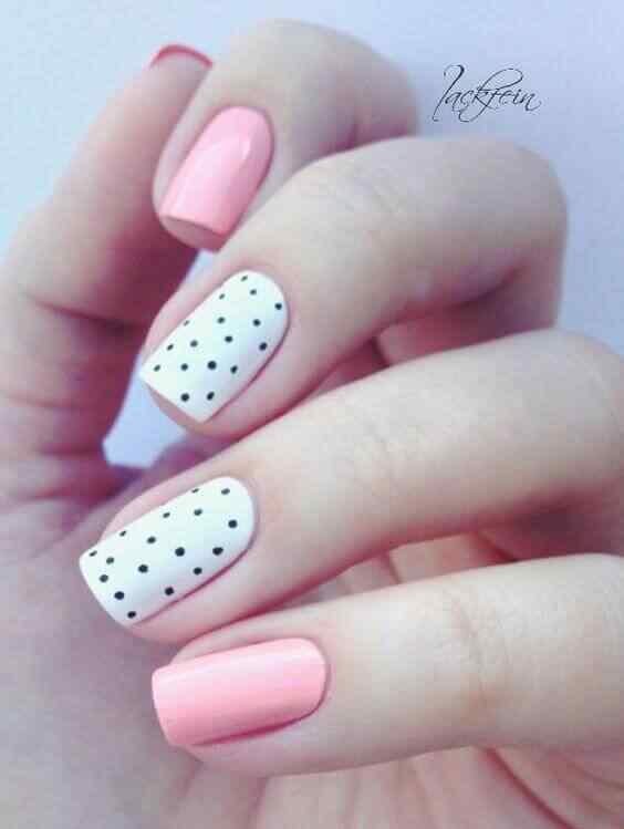 uñas decoradas rosa faciles con puntos