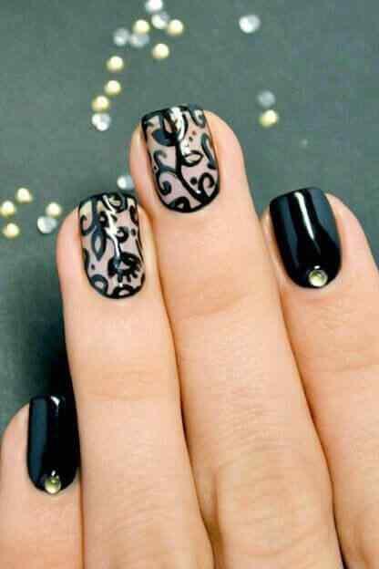 uñas decoradas elegantes negro encaje