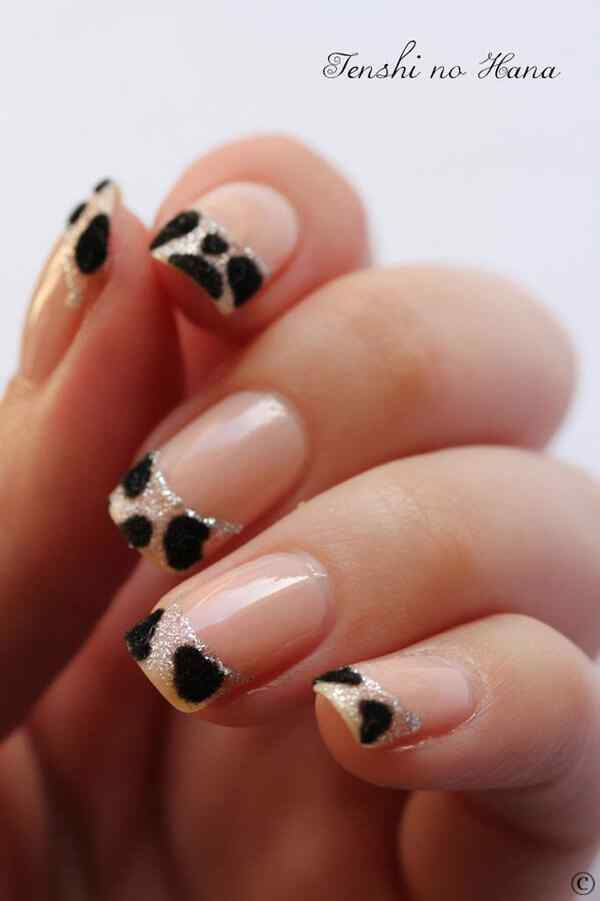 Uñas french animal print