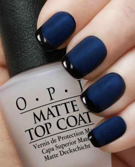 uñas francesas azul y negro