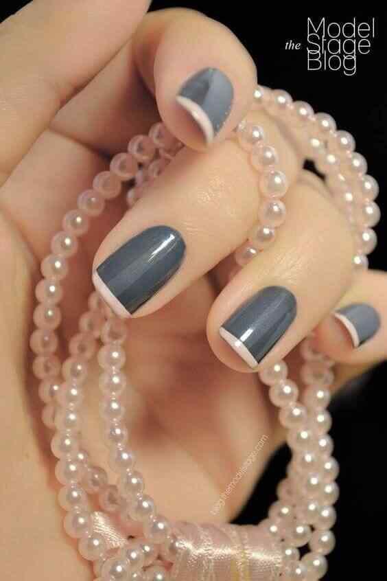uñas francesas gris y rosa