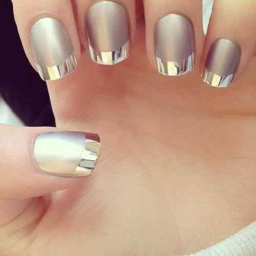 uñas francesas metalizadas