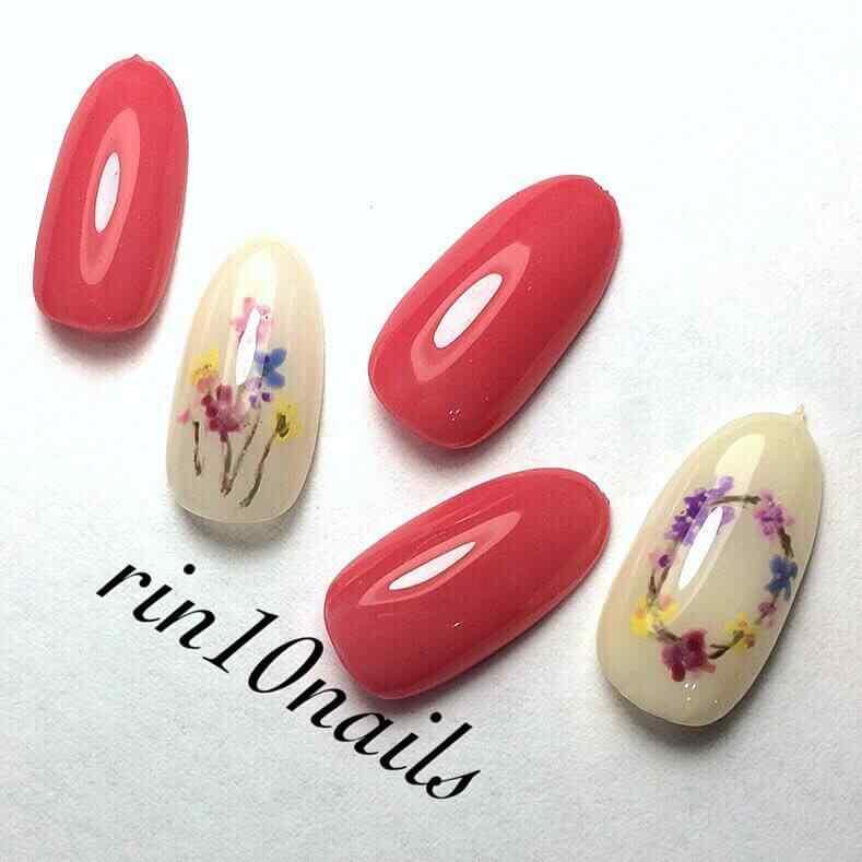 uñas acrilicas con flores