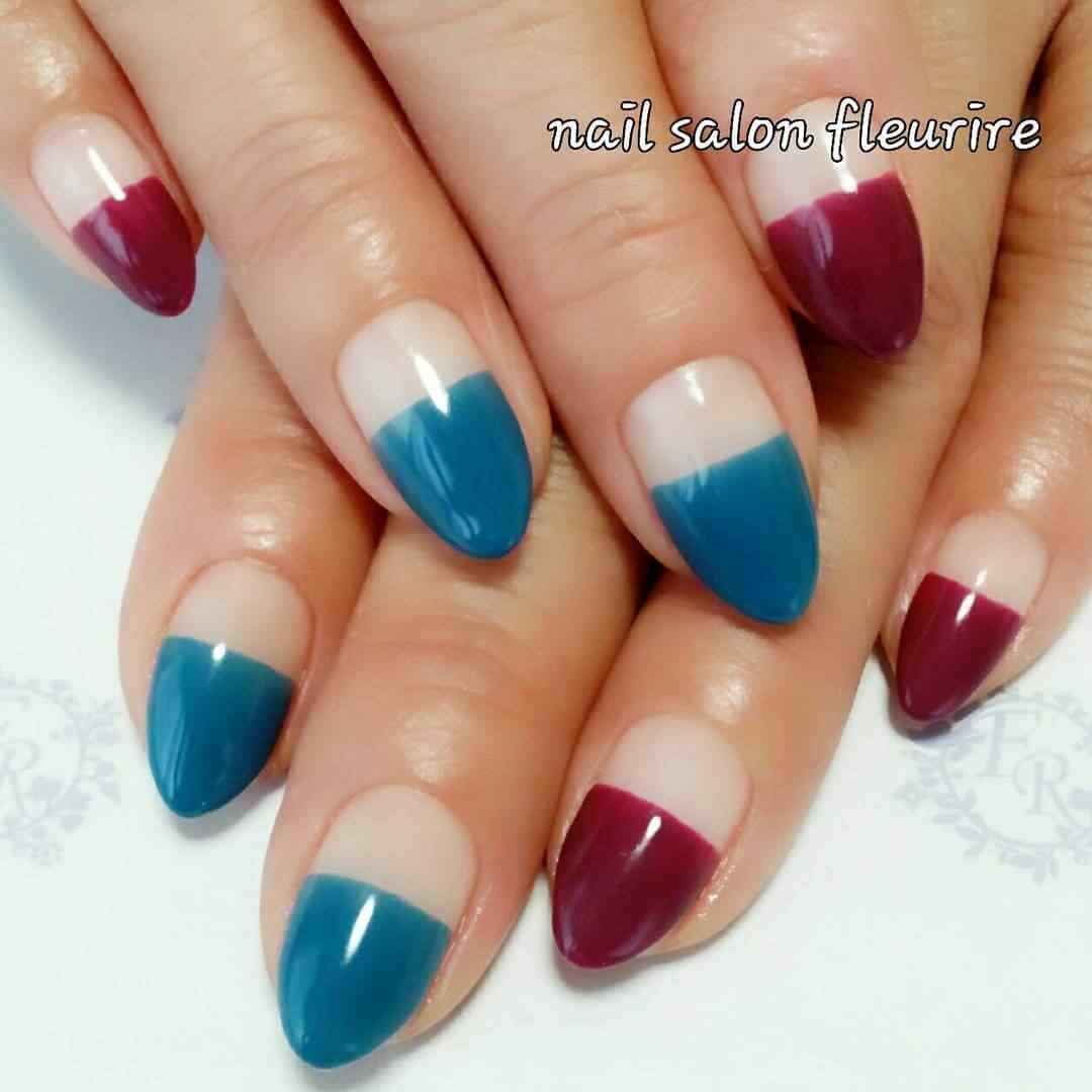 uñas decoradas sencillas en azul y rojo