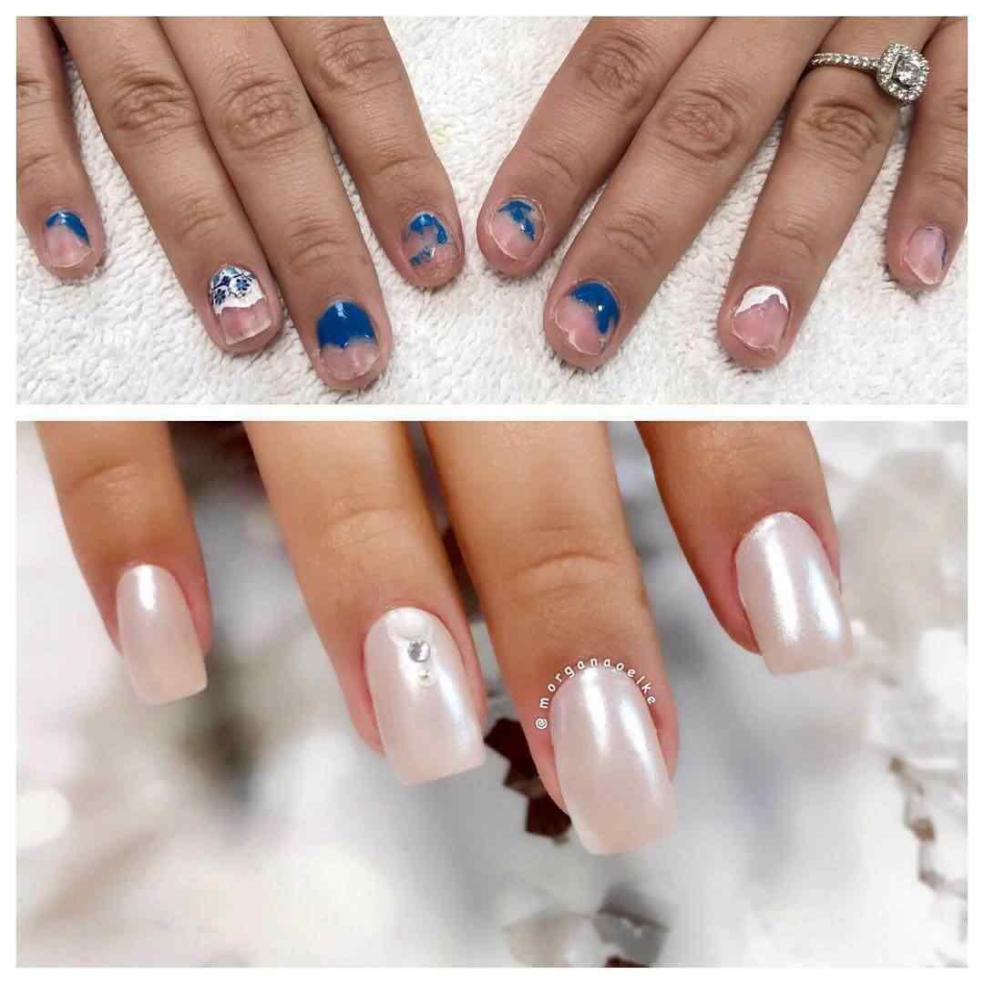 uñas para novia blanco perla