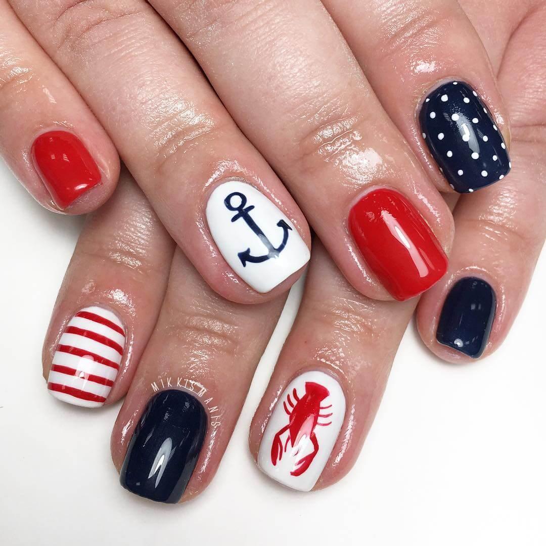 decoracion de uñas nauticas para verano
