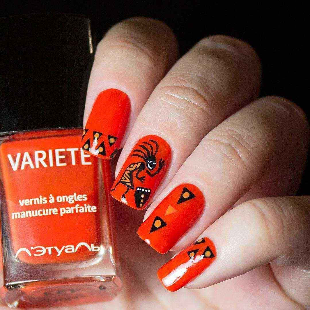 ideas de uñas naranja