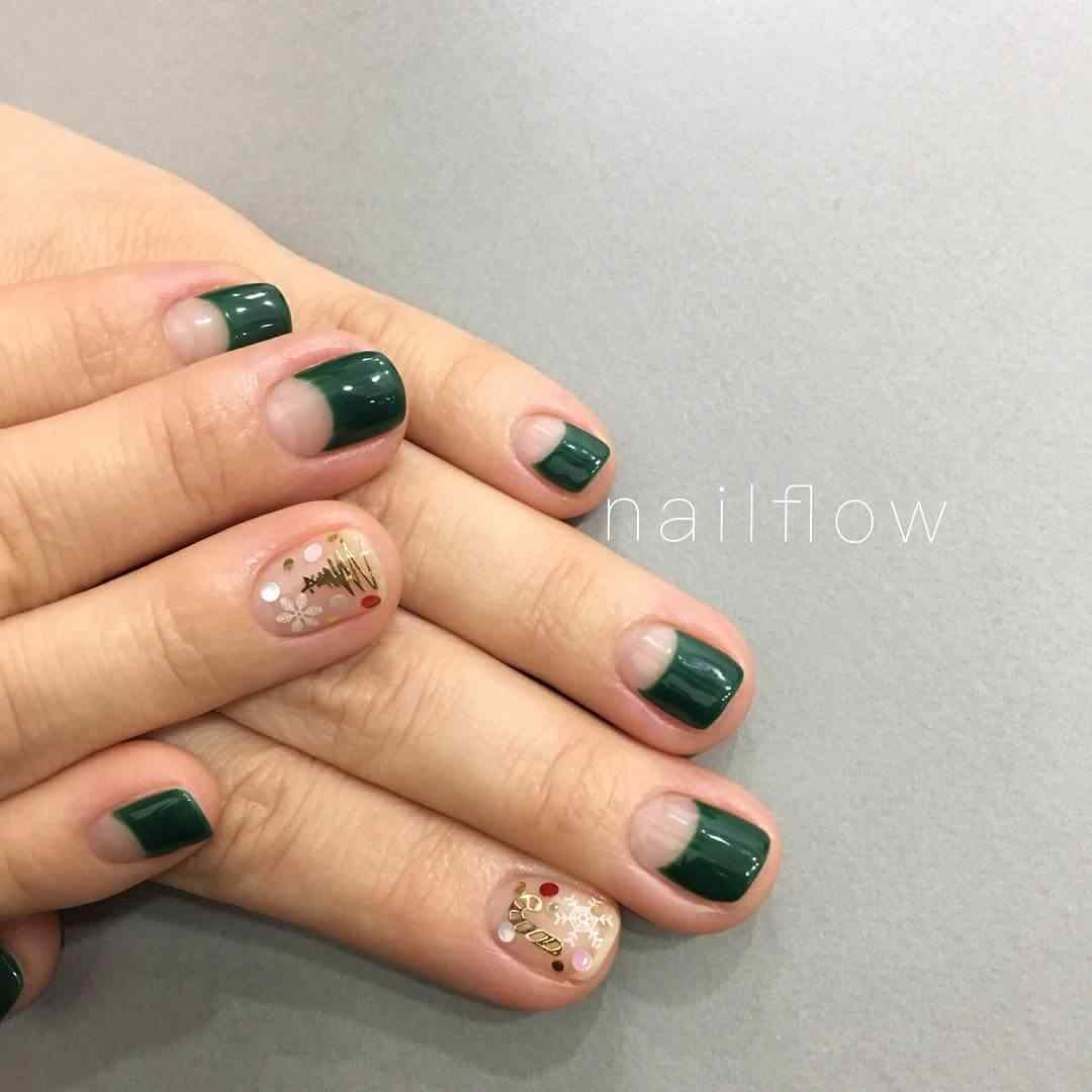 uñas verdes para navidad