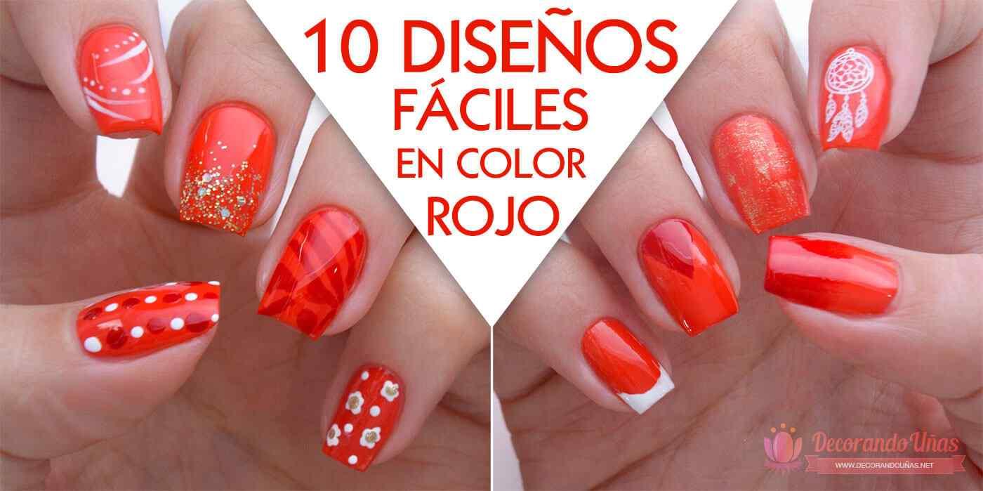 Diseños de uñas faciles color rojo