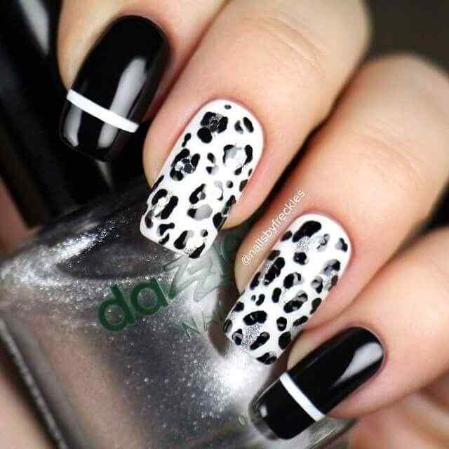 uñas sencillas animal print