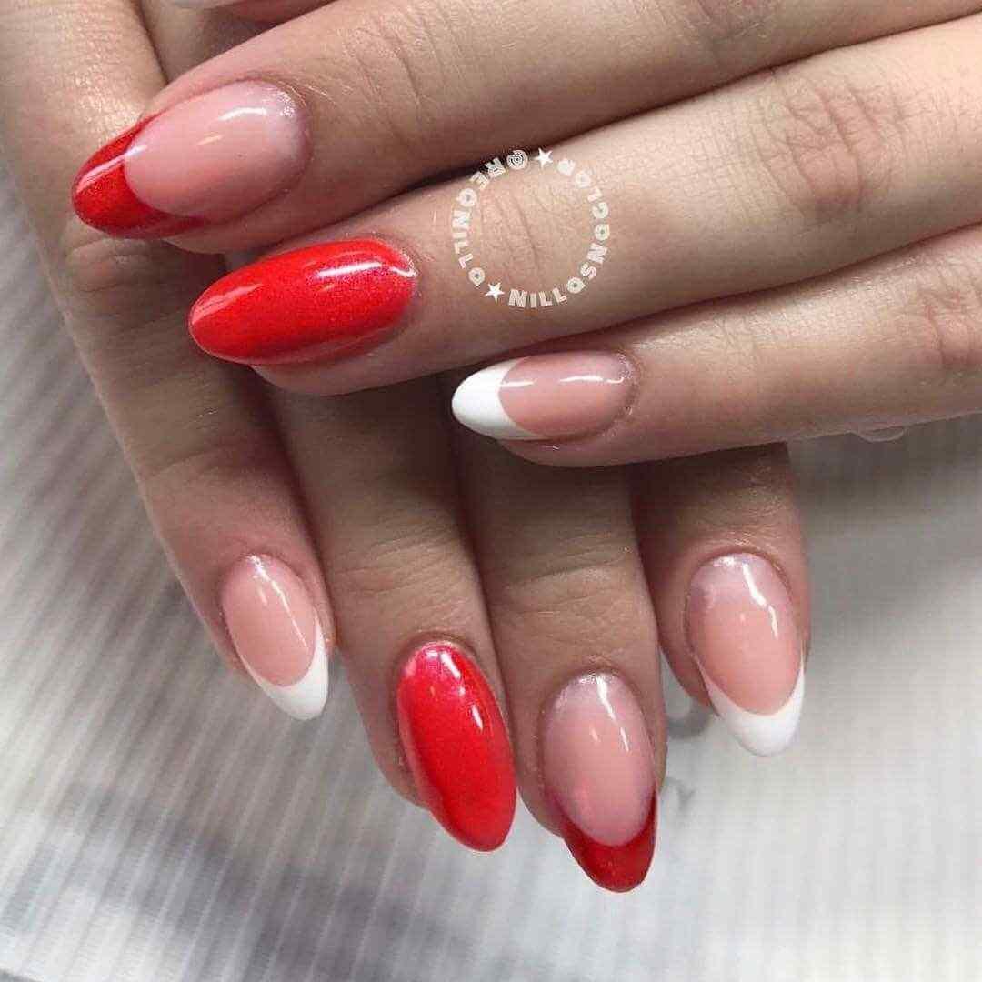 uñas francesas bonitas en rojo y blanco