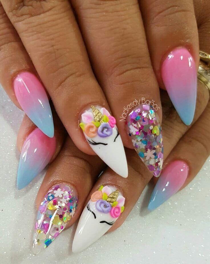 decoracion de uñas para niñas unicornio