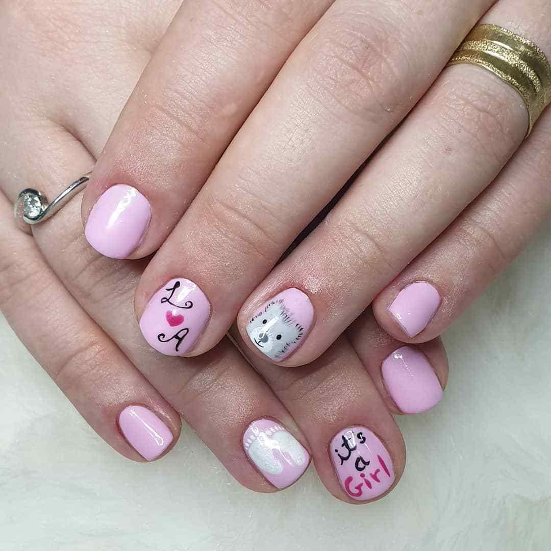 decoracion de uñas cortas rosa