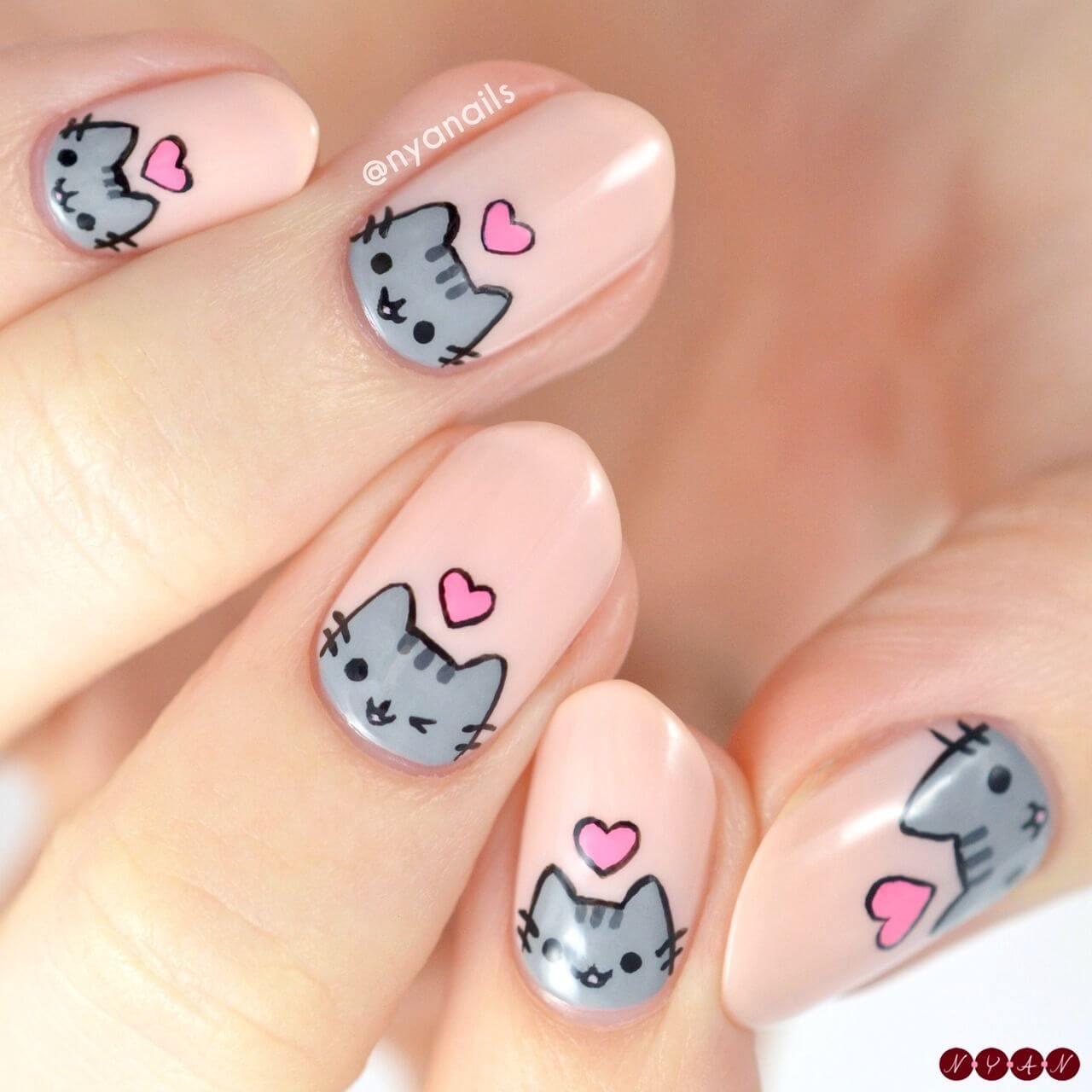 diseño de uñas con gatito para niñas