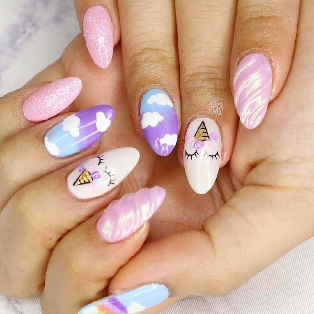 diseño de uñas para niñas con unicornios