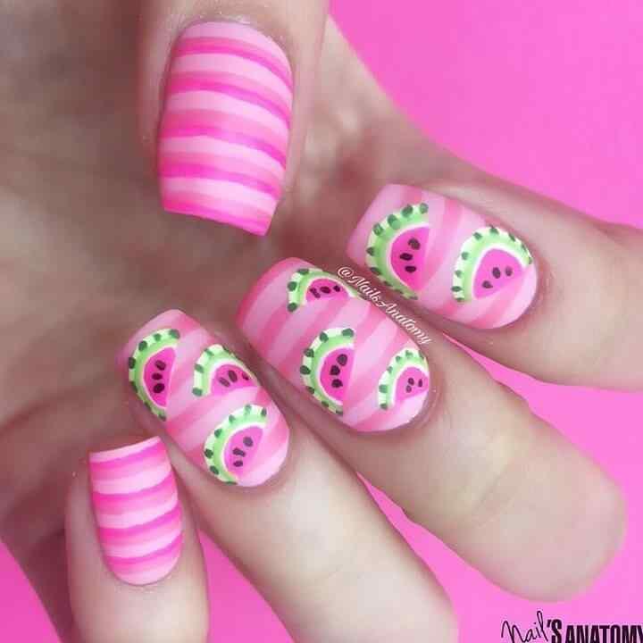 diseño de uñas con sandias para niñas