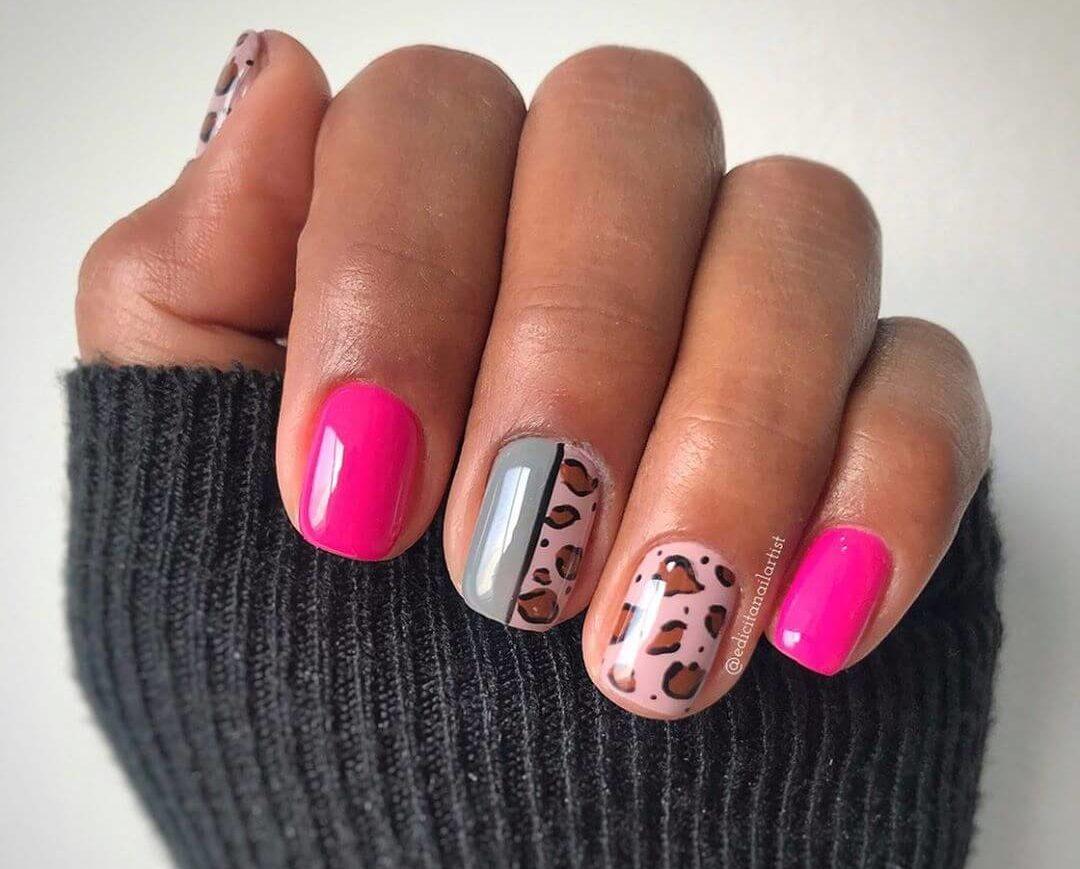 uñas animal print rosa