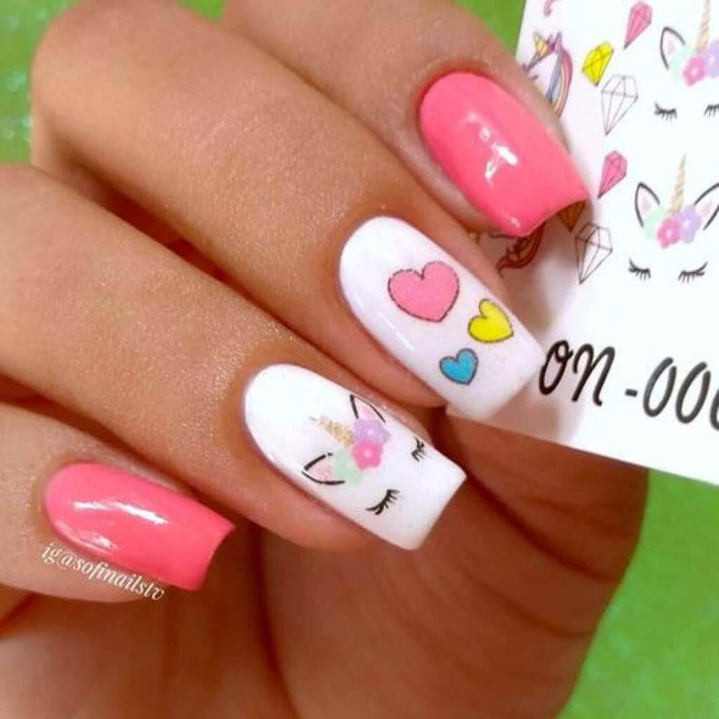 uñas con unicornio sencillas para niñas