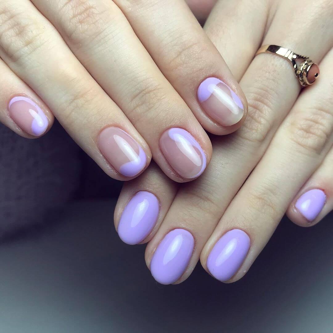 uñas decoradas sencillas con violeta