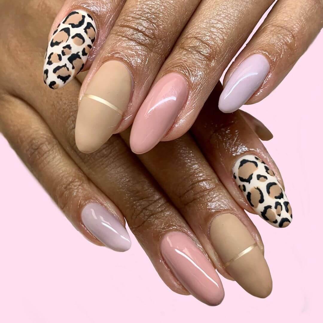 uñas estampado de leopardo