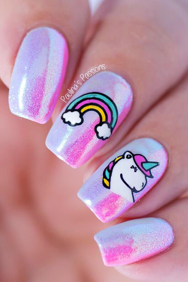 uñas para niñas con unicornios
