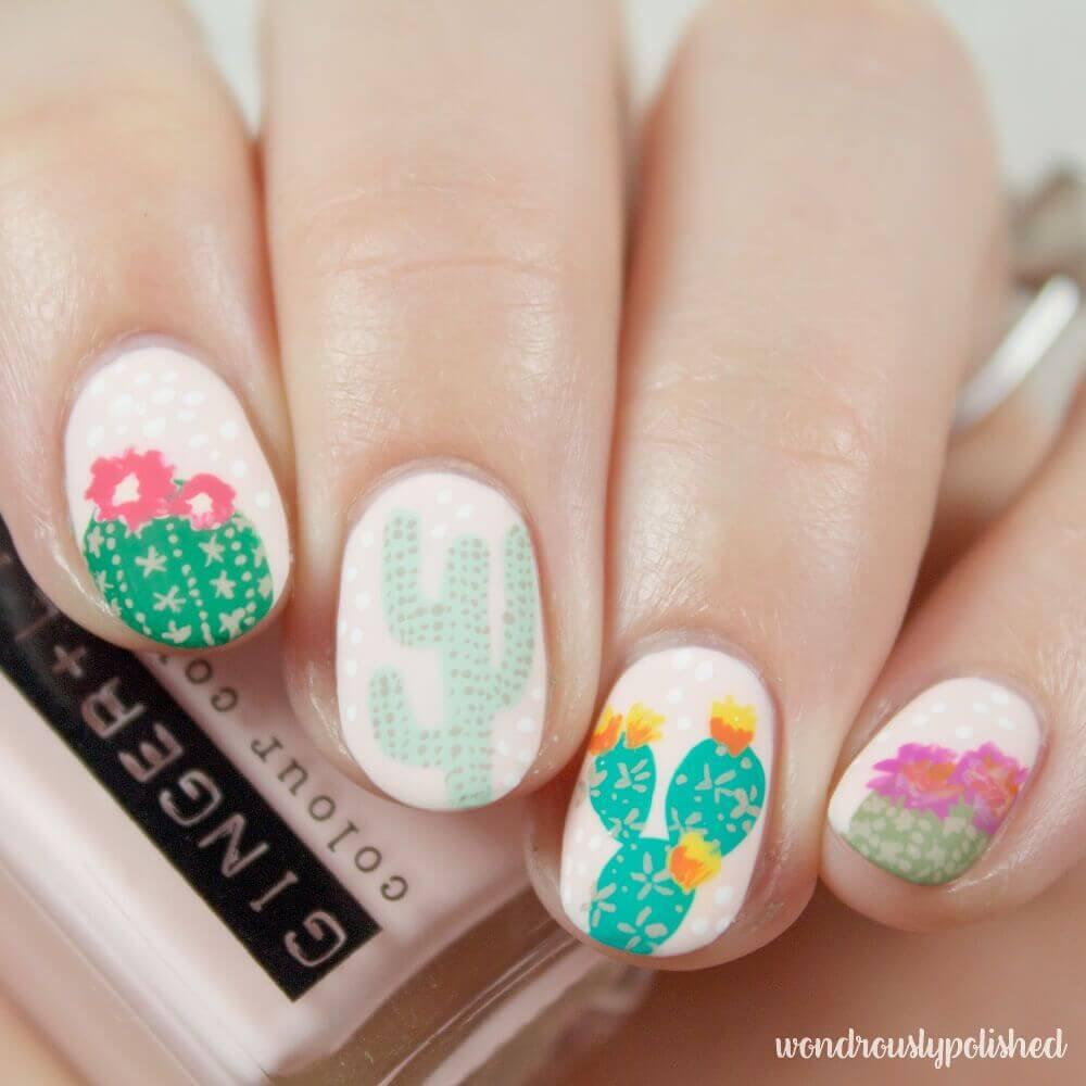 uñas para niñas diseño cactus