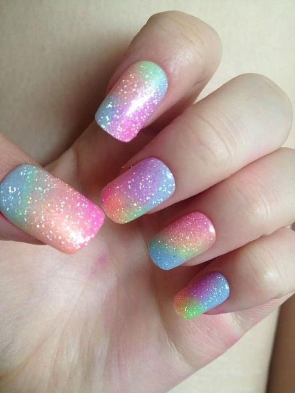 uñas para niñas efecto arcoiris