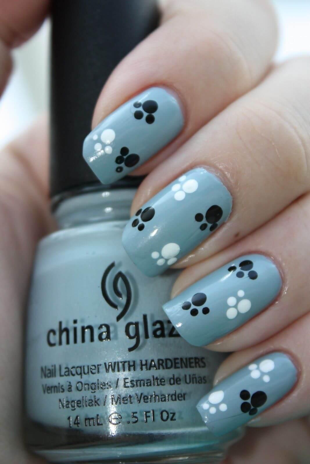 uñas para niñas huellas perrito