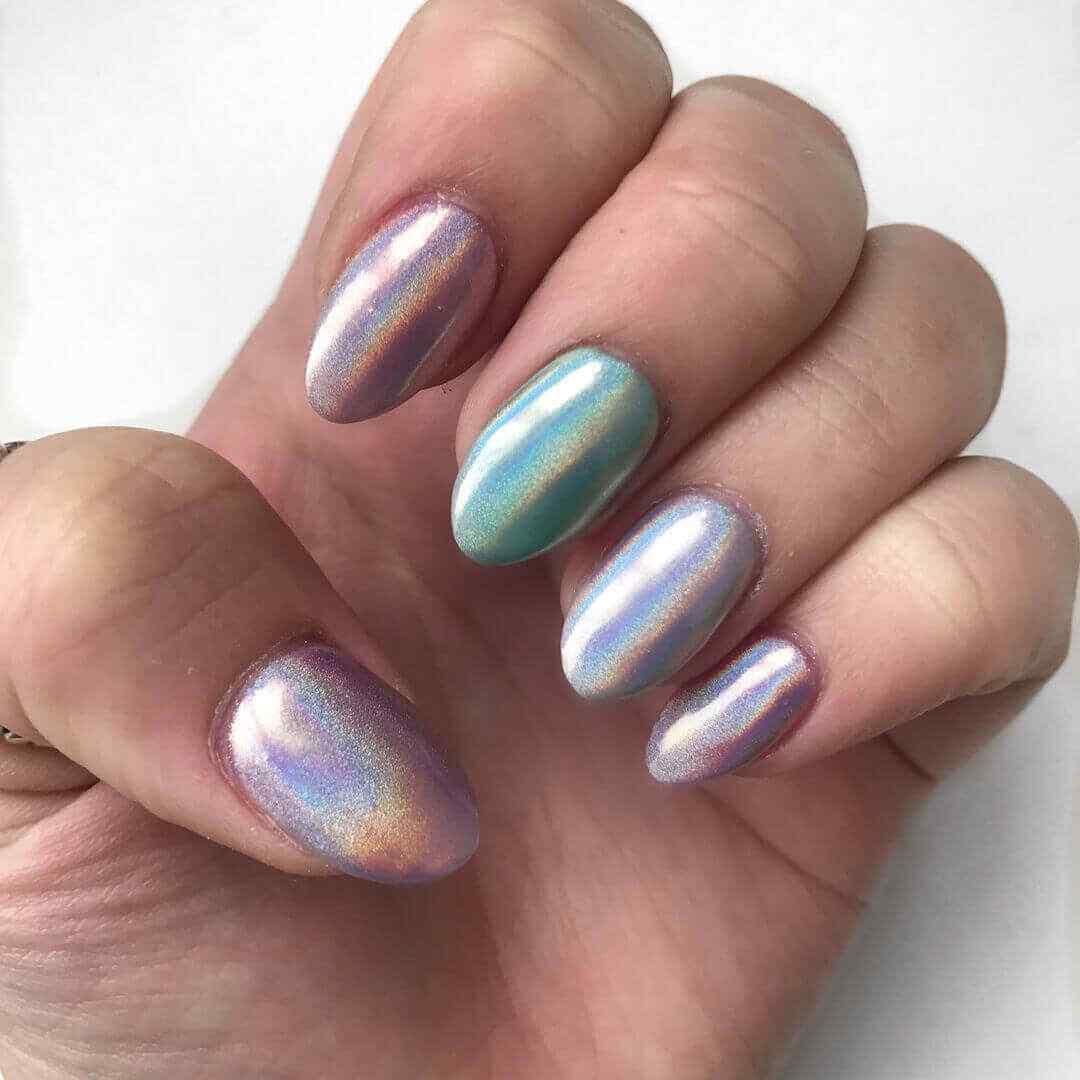 uñas acrílicas efecto metal