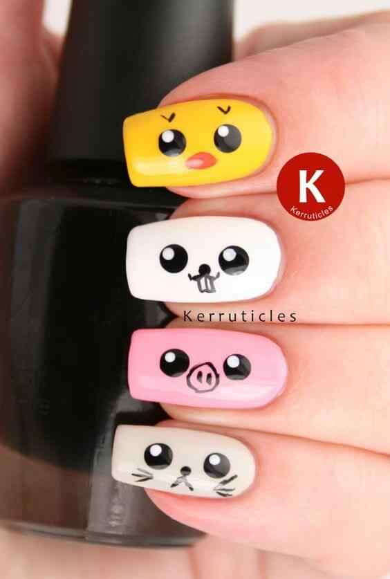 uñas con diseño animalitos