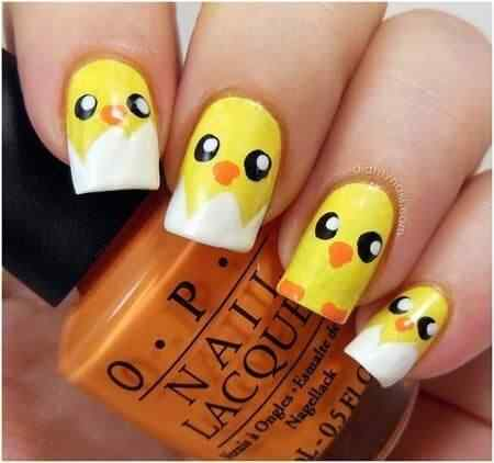 uñas con pollitos