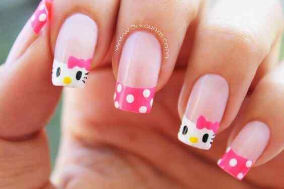 uñas de hello kitty