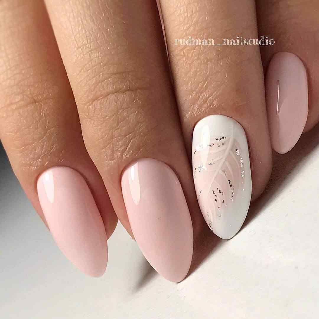 uñas decoradas rosa palo con blanco
